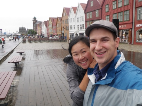 Scott and I taking a stroll along the Bryggen.